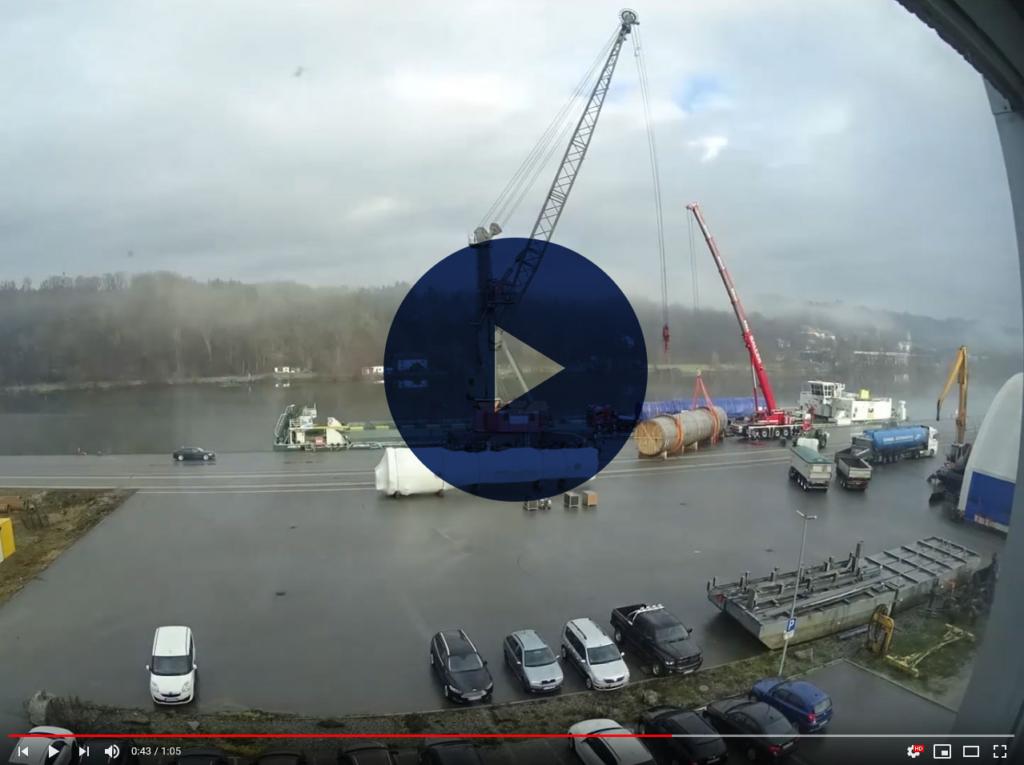 Teaser Zeitraffe Montage Liebherr LHM420 bayernhafen Passau