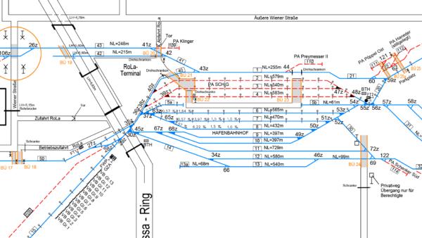 Gleisschemaplan Ausschnitt