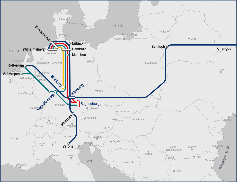 Grafik Verbindungen im Kombinierten Verkehr bayernhafen