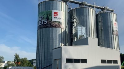 3 silo towers of the pellet storage facility Maier Korduletsch
