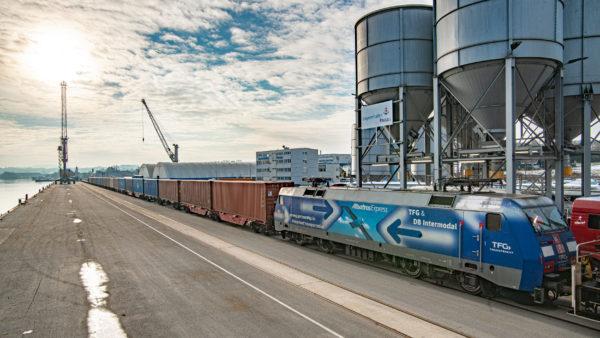 Container train at the quay in bayernhafen Passau